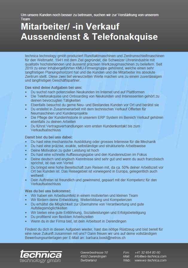 Mitarbeiter/-in Verkauf Aussendienst & Telefonakquise